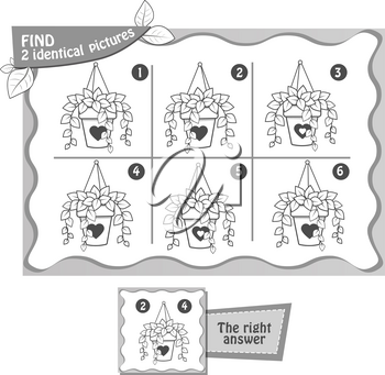 visual game for children and adults. Task  game fnd 2 identical  pictures. black and white illustration