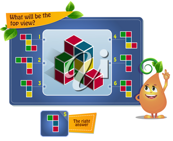 educational game for kids, puzzle. development of spatial thinking in children (suitable both for kids and adults). Task game  what will be the top view?