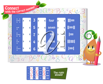 educational game iq for kids and adults development of logic, iq. Task game connect with the correct number