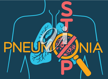 Illustration, poster or banner of world pneumonia day in the form of anatomy of the lungs and bacteria causing disease and an inscription stop.