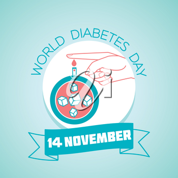 Calendar for each day on november 14. Greeting card. Holiday -  World Diabetes Day. Icon in the linear style