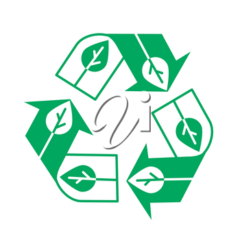 Concepts of processing paper in the view of the recycling icon in the form of a leaf of a tree. Recycle icon in the linear style