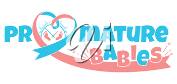 concept of births a newborn's  premature baby in the form  a pink blue ribbon and small prints of the newborn's scabbard and a stylized inscription of a premature baby