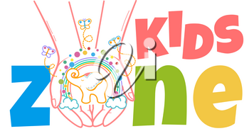 concept of child development, the school for the development of the creativity of the child in the form of hands with children's imagination and and inscription kids zone. Icon in the linear style