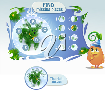 Visual Game for children. Task:  find missing pieces . Cartoon Illustration of Education Puzzle Game for Preschool Children