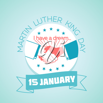 Calendar for each day on january 15. Greeting card. Holiday - Martin Luther King Day. Icon in the linear style