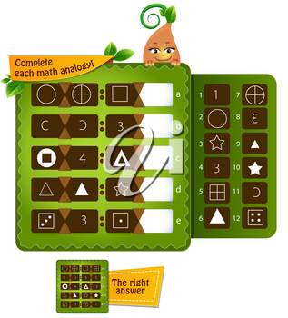 educational game for kids and adults development of logic, iq. Complete each math analogy