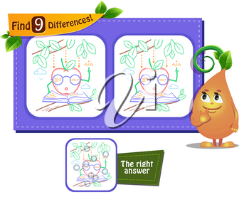 visual game for children and adults. Task to find 9 differences.