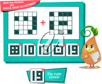 educational game for kids and adults development of logic, iq. Task game for children unite two pictures and guess what is pictured