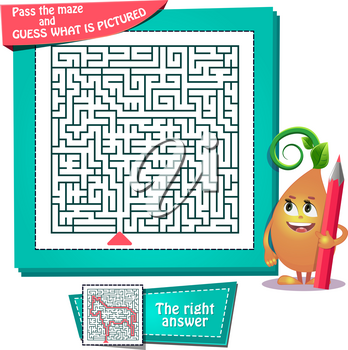 educational game for kids and adults development of logic, iq. Task game for children pass the maze and guess what is pictured