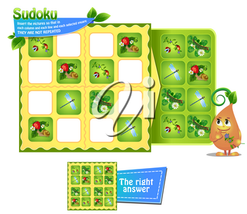 Sudoku game for children with pictures insects. Kids activity sheet. Training logic, educational game