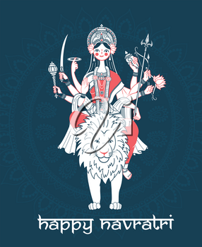 Greeting card. Holiday -  Navratri. Icon in the linear style (goddess Durga)