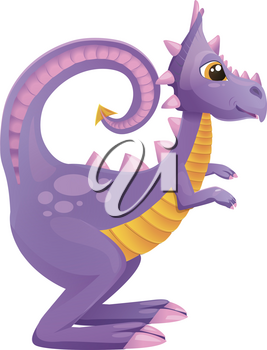illustration of purple dragon, dinosaur cartoon style