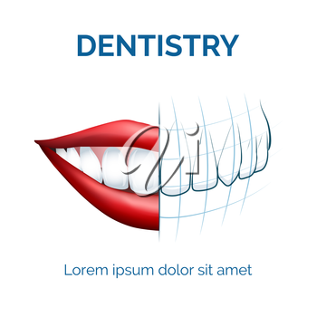 Illustration of human mouth, lips and teeth and dental tomography for your dentistry  logo etc