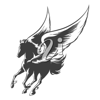 Winged horse Pegasus. Illustration in engraving style.