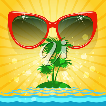 Summer background with sunglasses and tropical landscape.