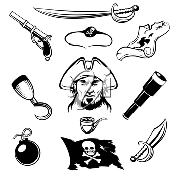 Set of pirate icons. Isolated on white background.