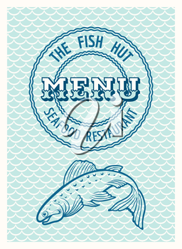 Vintage SeaFood restaurant poster or menu template. Only free font Ewert and Economica used. No gradients.
