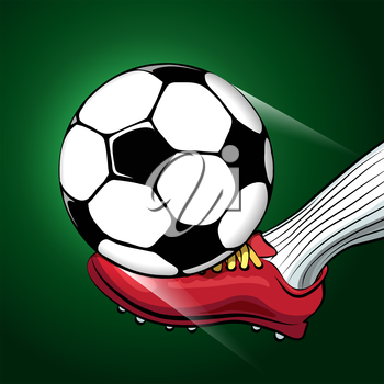 Soccer player foot shooting a ball. Sporting football or Soccer theme.