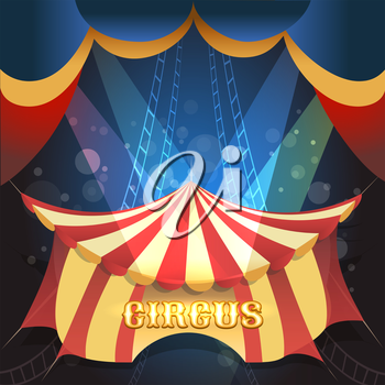 Circus Show illustration with tent and scene lights. Free font used.