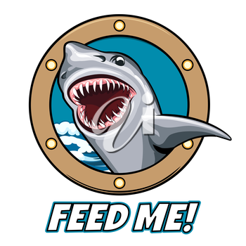 Emblem of Shark head with open mouth in ship window and wording Feed Me. Cartoon style. Free font used.