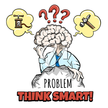 Human brain in thinking process tries to solve a complex problem and motivation inscription Think Smart. Vector illustration in sketch style.