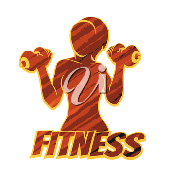 Athletic Woman Silhouette with Dumbbels. Fitness Emblem or Print shirt template with grunge pattern. Vector illustration.