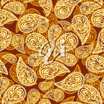 Abstract seamless Pattern with paisley motif. Vector illustration.