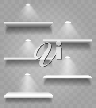 Set of Realistic Shelves with Shadows and Spot Lights. Shelves isolated on transparent background. Vector Illustration.