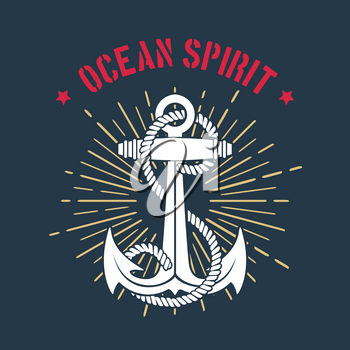 Nautical Emblem of Anchor and ropes classic retro template with wording Ocean Spirit. Vector illustration.