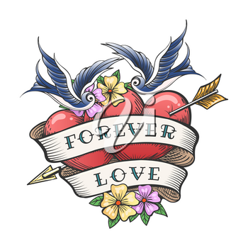 Two Hearts Pierced By Arrow with hand made Lettering Together Forever. Tattoo Hearts With Flower And Flying Swallow. Vector illustration.
