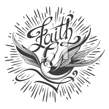Flying Swallow and hand made Lettering Faith Retro tattoo. Vector illustration.