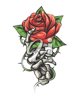 Tattoo of Rose flower in human skeleton hand isolated on white background. Vector illustration.