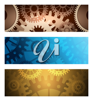 Set of banners or headers with gears. Colorful illustration.