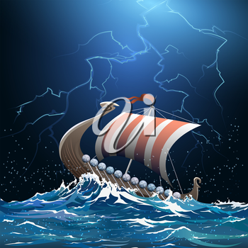 Drakkar or viking warship floating in the stormy sea by midnight.