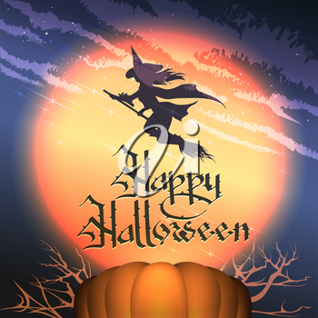 Happy Halloween Background with Pumpkin, Full moon and Flying Witch. Vector Illustration.