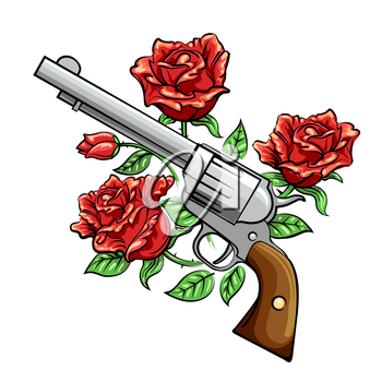 Revolver Gun and rose flowers drawn in tattoo style. Vector illustration.