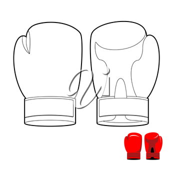 Coloring book of boxing gloves. Vector illustration sports accessory