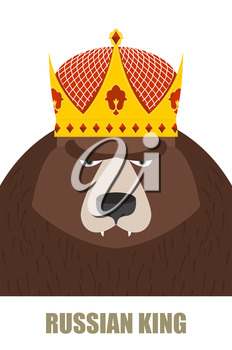 Russian King. Bear in Golden Crown. Vector illustration of a wild animal.