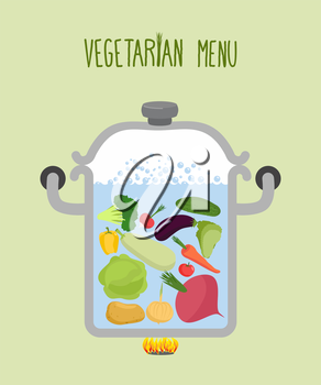 Vegetables in a saucepan. Logo for  vegetarian menu. Useful and healthy food. Boiled beets and squash. Cooking vegetables in saucepan. A set of useful vegetables: onions and pepper. Vector illustratio