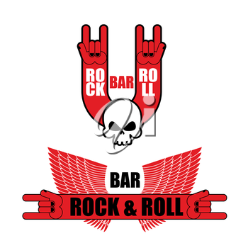 Set of logos for rock and roll bar. Hand rock sign and wings. Template logo for pub lovers of rock music