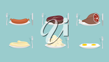 Meat food: Sausage and dumplings. Ham and steak. Scrambled eggs and pasta.  Food on  plate. Cutlery: knife and fork. Food for dinner, breakfast and lunch. Vector illustration.