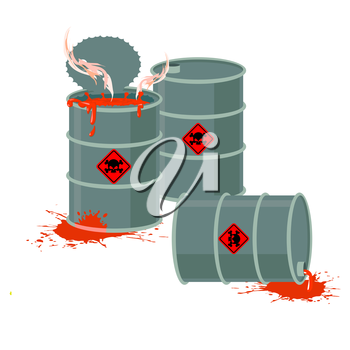 Barrels of Red acid. Hazardous chemical waste. Vector illustration containers with toxic liquid
