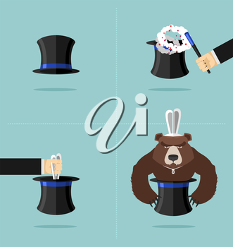Sequence of a magic trick. Instead of rabbit out of  hat was a bear. Top hat magician with magic wand. Rabbit in hat Vector illustration. Angry bear.