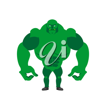 Green Goblin on a white background. Strong monster with large hands.  Vector illustration of storybook troll