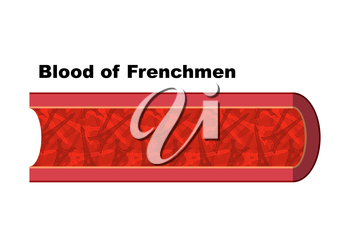 Blood of Frenchmen. Blood cells in form of  Eiffel Tower. Anatomy of blood vessel. Vienna man from France. Humorous picture. In veins of human blood from French Parisian landmark.