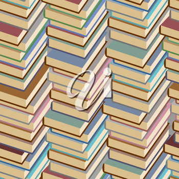 Stack of books seamless pattern. Vector background.