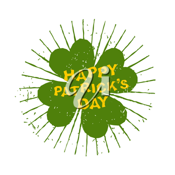 Four leaf clover. Happy Patricks day. Emblem grunge for holiday. Green clover and rays. Plant for lucky winner, brings good luck Logo of  St. Patrick's day in Ireland 17 March