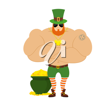 strong Leprechaun. Powerful big leprechaun in Green Hat. Bodybuilder in Red Beard. Sports man with big muscles. Powerful leprechaun and pot of gold. Tattoo four listnyj clover. Serious Leprechaun in d