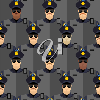 Police officers seamless pattern. police stand guard. Vector background of people